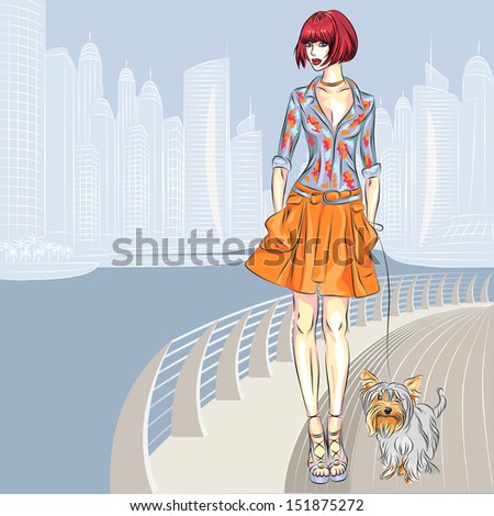 Beautiful fashion girls top models with dog Yorkshire Terrier breed walks along the waterfront of the modern city - stock photo