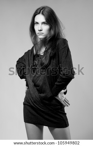 beautiful fashion glamour girl, studio shot b&w version - stock photo