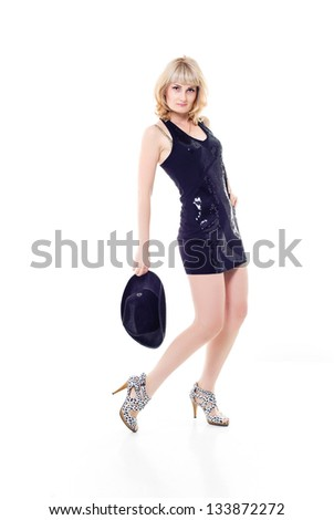Beautiful fashion model isolated on white background. Beautiful Woman Fashion Model Isolated over White Background. Shopping Mall. Sales and Discounts Concept