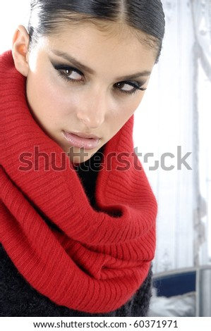 Beautiful fashion model posing-close up - stock photo
