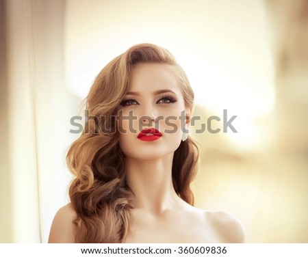 Beautiful fashion model Woman with hair, Red lipstick . Portrait of glamour girl with bright makeup. Beauty female face close up with perfect make up - stock photo