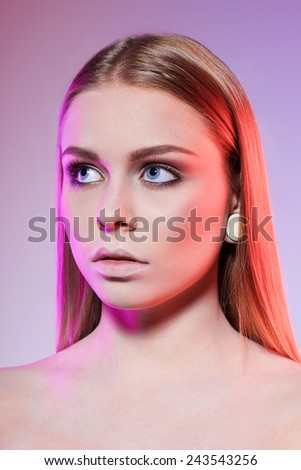 Beautiful fashion portrait of glamour female face - stock photo