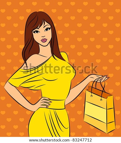 Beautiful fashion shopping girl.
