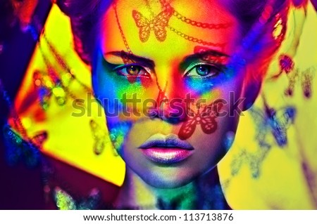 beautiful fashion woman color  face art butterfly shadow - stock photo