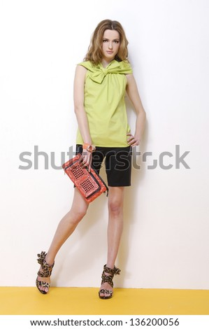 beautiful fashion woman with purse posing in studio - stock photo