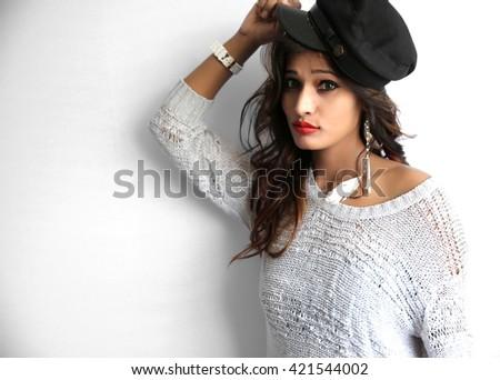 Beautiful fashionable indian woman portrait Isolated on white background. - stock photo