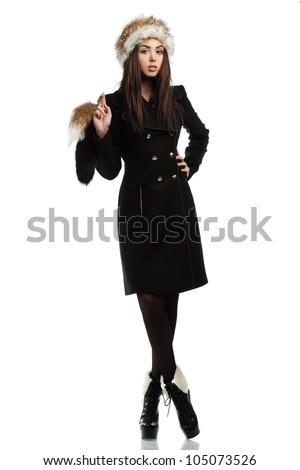 beautiful fashionable woman in coat - stock photo
