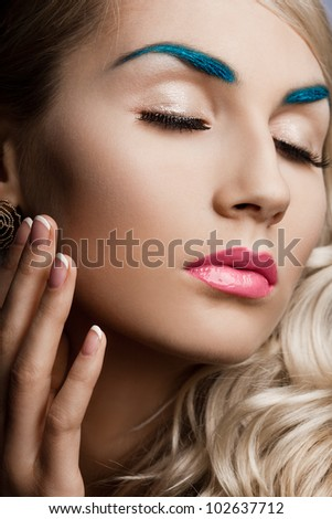 beautiful fashionable woman with art visage - stock photo