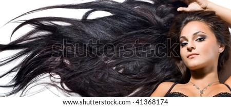 beautiful fashionable woman with long hair - stock photo