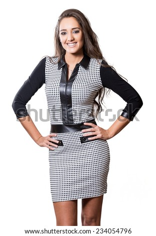 Beautiful fashionable young woman. Isolated over white background.