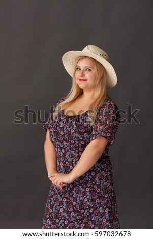 Beautiful Fat Woman In A Straw Hat Cotton Dress Rustic Style Clothing
