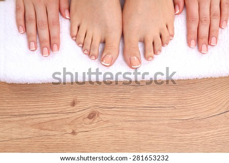 Closeup Photo Beautiful Female Feet Pedicure Stock Photo ...