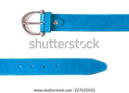 beautiful female blue belt on a white background - stock photo