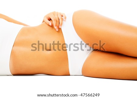 Beautiful female body. Isolated over white background. - stock photo