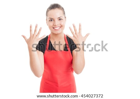 Beautiful female employee showing number ten with both hands isolated on white with copy space area