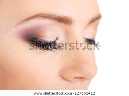 Beautiful female eyes with bright  make-up, close up - stock photo