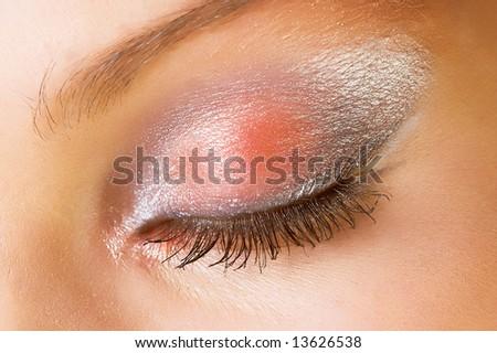 beautiful female eyes with sparkly make up - stock photo