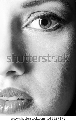 beautiful female face close up view - stock photo
