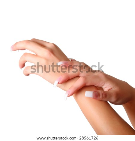 Beautiful female gentle brushes of hands with manicure, isolated on a white background, please see some of my other parts of a body images: