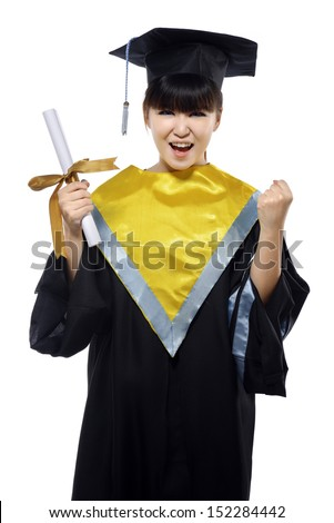 Beautiful female graduate isolated over white background