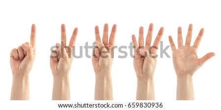 Beautiful female hand count from one to five gesture. Isolated on white background