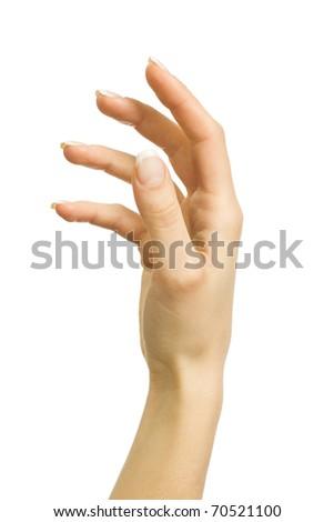 Beautiful female hand on a white background - stock photo