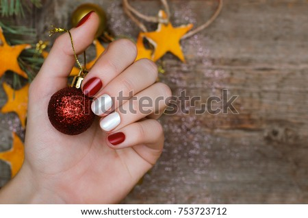 Fingernail stock images royalty free images vectors shutterstock beautiful female hand with red and white nail design christmas nail art prinsesfo Gallery