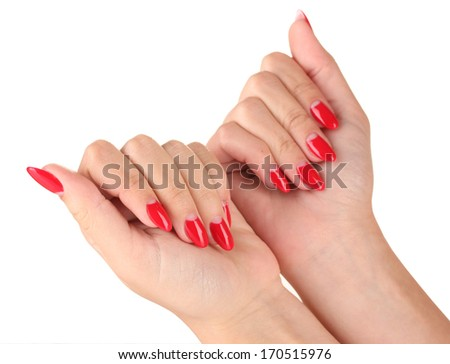 Beautiful female hands with red nails isolated on white - stock photo
