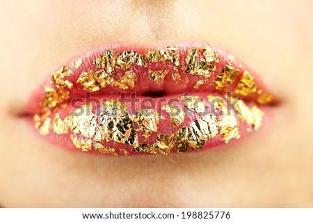Beautiful female lips, close up - stock photo