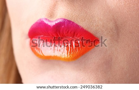 Beautiful female lips, close up