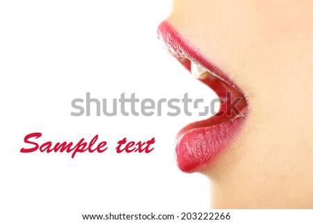 Beautiful female lips, isolated on white - stock photo