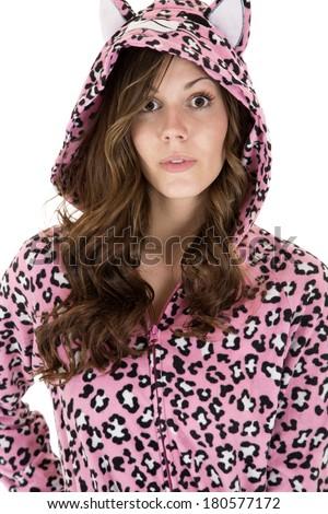 beautiful female model in leopard print pajamas - stock photo