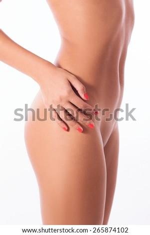 beautiful female naked body isolated on white - stock photo