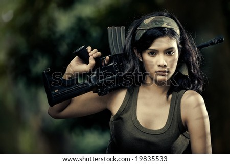 beautiful female soldier - stock photo