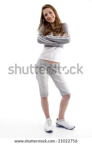 beautiful female standing in style with white background - stock photo