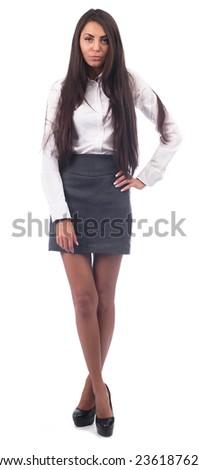 Beautiful female student(isolated on white) - stock photo