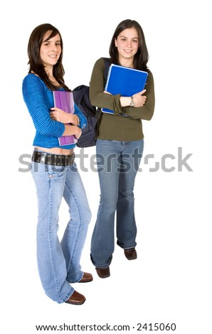 beautiful female students - full body over a white background - stock photo