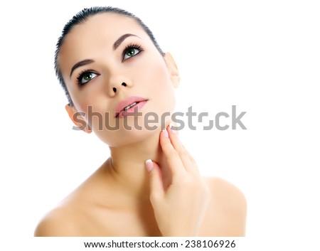Beautiful female with clean fresh skin, white background  - stock photo