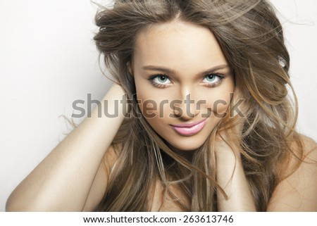 beautiful female with long hair  , studio shot . horizontal - stock photo