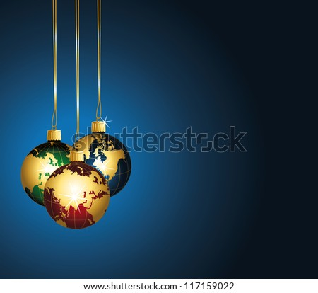 Beautiful festive background with colorful world ornaments. - stock photo