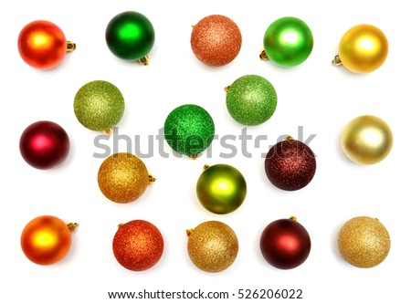 Beautiful festive Christmas balls isolated on white background. Flat lay, top view. Creative. New Year card.