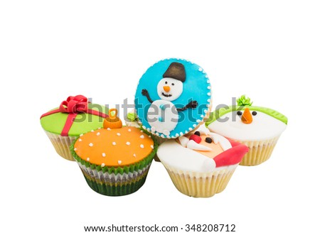 Beautiful festive cupcakes on a white background