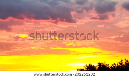 Beautiful fiery sunset, the evening sky in the fire