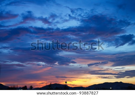 Beautiful fiery sunset, the evening sky in the fire - stock photo