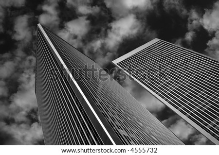 Beautiful Financial Center in Los Angeles with blue Sky - stock photo