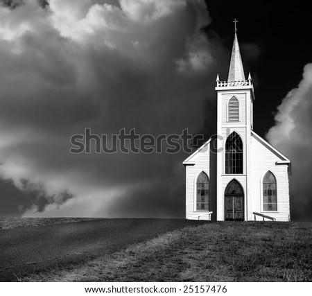 Beautiful Fine art Image Of the Old Church At bodega bay california - stock photo