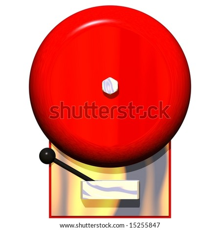 Beautiful fire alarm isolated on white - stock photo