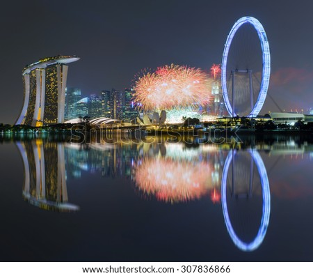 Beautiful fireworks Celebrating Singapore's 50th Birthday in Marina Bay at Singapore