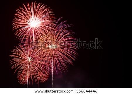 Beautiful Fireworks, Fireworks light up the sky,New Year celebration fireworks - stock photo