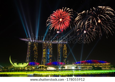 Beautiful fireworks in Marina Bay in Singapore - stock photo
